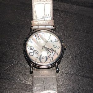 Betsey Johnson watch mother of pearl silvertone